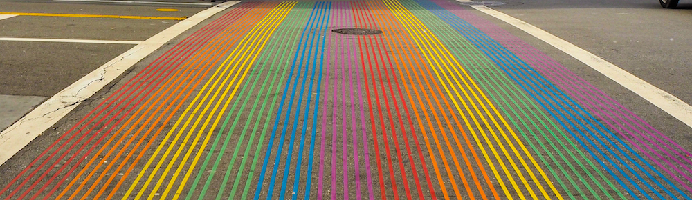 Rainbow crosswalk at Castro