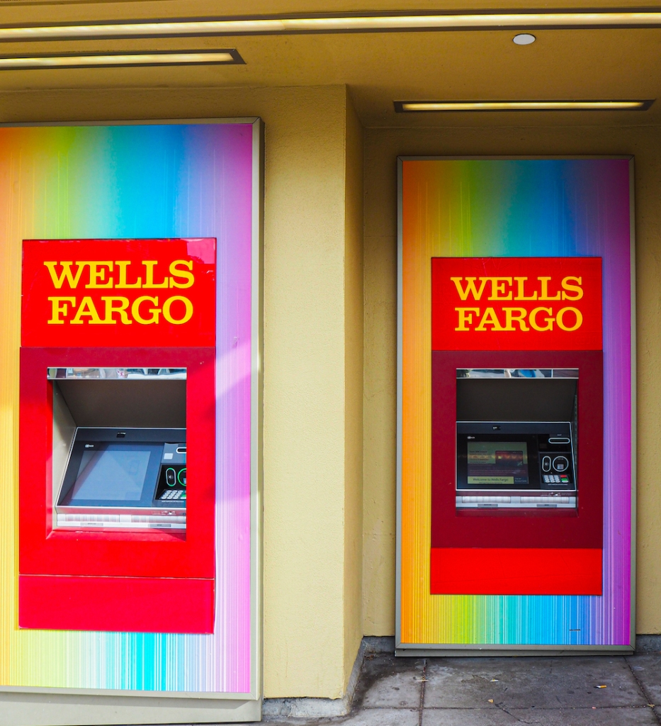 Wells Fargo ATM covered in rainbow colors