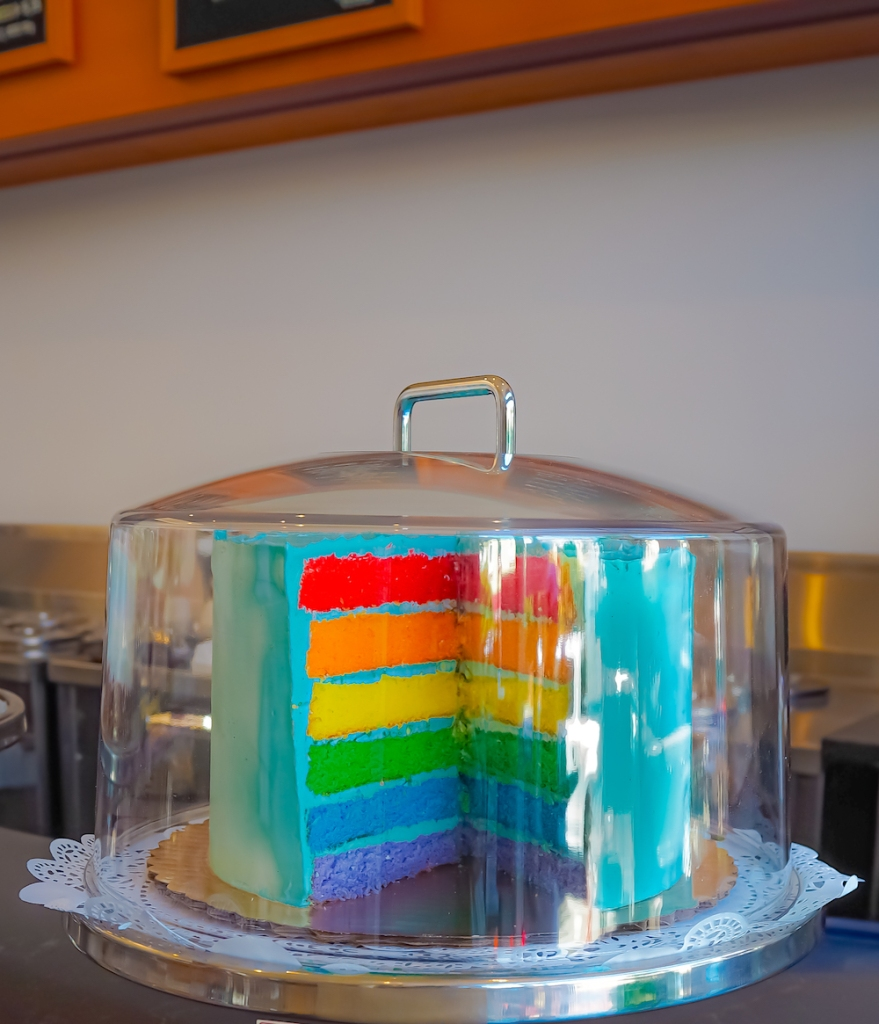 Rainbow cake at Castro Fountain Bakery