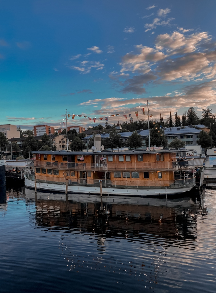 Dinner at Lappeenranta port at sunset